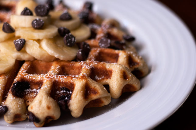 chocolate chip sourdough waffles