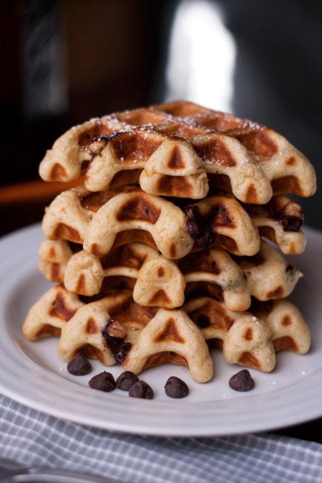 chocolate chip sourdough waffles
